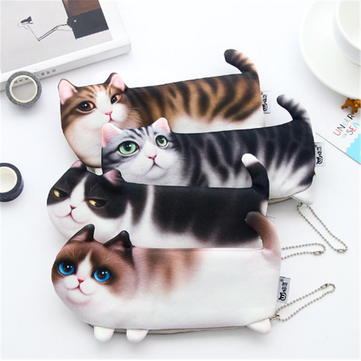 Cartoon Cat Pencil Case Soft cloth School Stationery Pen Bag Gift for Girl Boy Student