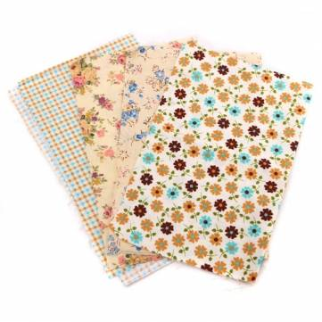 4pcs 25x20cm Brown Series Cotton Sewing Fabric Dolls Purse Handwork DIY Patchwork Cloths