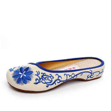 Chinese Style Mary Janes Flower Slip-ons Flower Embroidered Linen Flat Loafers