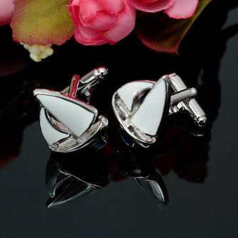 Men Male Silver Sailing Pattern Cuff Links Retangular Stainless Steel Wedding Gift Attire Accessories