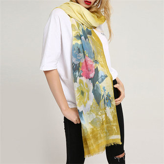 Women Romantic Rose Print Scarf Summer Flower Scarf