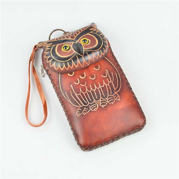 Genuine Leather Cartoon Owl 5.5inch Phone Bag Clutch Coins Bags Purse