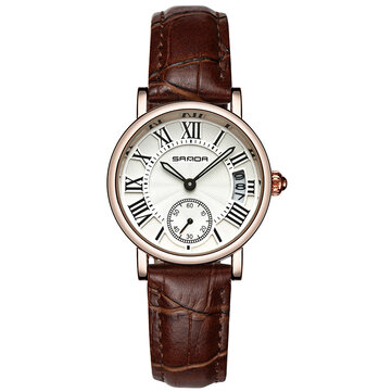 SANDA P206L Casual Style Calendar Women Watch Leather Strap Quartz Watch