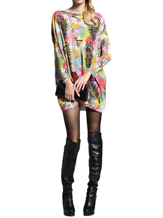 Women Loose O-Neck Long-Sleeve Pullover Printing Knitted Basic Sweater Dress