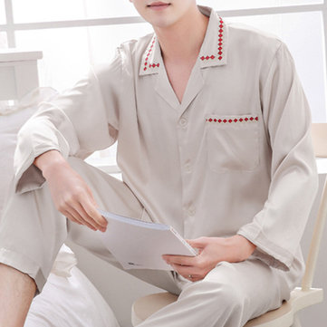 Imitation Silk Soft Comfy Home Loungewear Sleepwear Suit Men