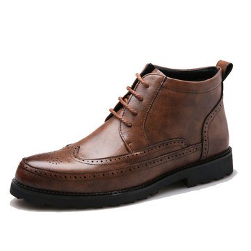 Microfiber Brogue Carved Leather Boots