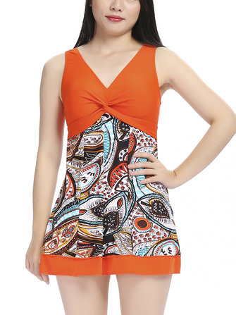 Plus Size XL-5XL Straps Multi Printed Swimdress