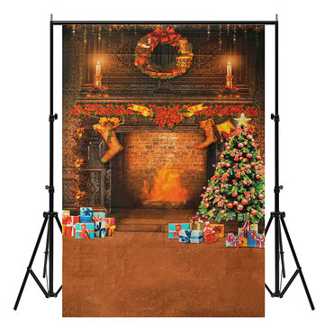 Chirstmas Tree Gift Stocking Fireplace Backdrop Photography Background Studio Photo Prop