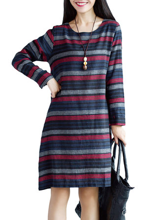 Casual Women Stripe Loose Long Sleeve Cotton Dress