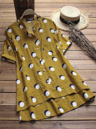 Women Vintage Polka Dot Stand Collar Short Sleeve Blouse