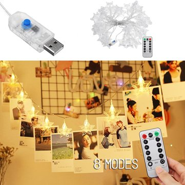 6M USB 8 Mode Remote Control 40LED Star Photo Clip Hanging Fairy String Light Wedding Party Outdoor