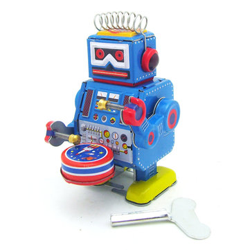 Classic Vintage Clockwork Wind Up Drum Playing Robot Reminiscence Bambini Tin Toys con chiave
