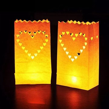Big Heart Pattern Tea Light Holder Luminaria Candle Paper Bag for Christmas Party Wedding Decoration