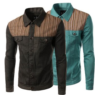 Mens Fashion Casual Denim Personalized Splicing Turn Down Collar Long Sleeve Shirt