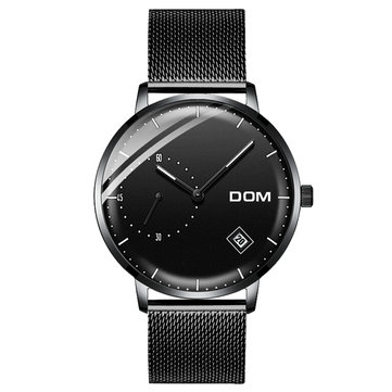 DOM M-302 Waterproof Calendar Men Wrist Watch Stainless Steel Strap Quartz Watches