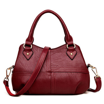 Women PU Soft Concise Solid Handbags Stitching Large Capacity Tote Crossbody Bags