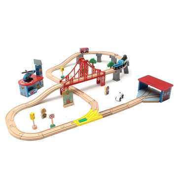 70PCS Wooden Train Track Building Block Educational Toys For Kids Children Christmas Gifts