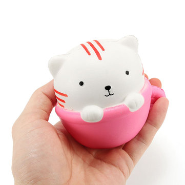 Squishy Teacup Cat 9cm Soft Slow Rising Leuke Dieren Cartoon Collection Gift Decor Squeeze Toy