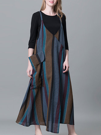 Plus Size Stripe Patchwork Sleeveless Vintage Maxi Dresses