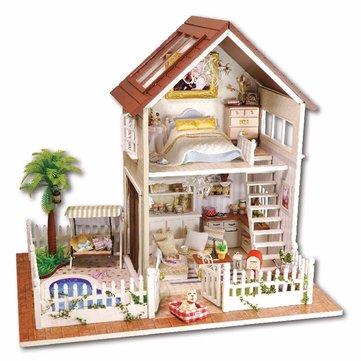 Cuteroom 1: 24diy miniatura activado por voz LED la luz y la música con la cubierta de parís apartamento casa de muñecas