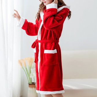 Coral Fleece Homewear With Hat Thick Robes Keep Warm Nightgown