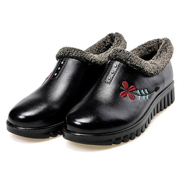 Winter Soft Sole Comfy Flower Zipper Casual Cotton Leather Boots