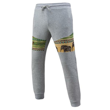 Men's Casual Jacquard Elastic Pants National Style Printing Drawstring Sport Trousers
