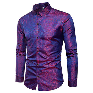 Mens Bright Nightclub Turn Down Collar Fashion Långärmad Designer Shirt