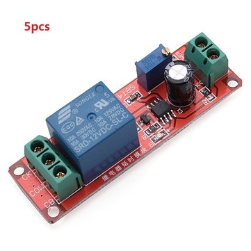 5pcs Delay Timer Switch Adjustable 0-10sec With NE555 Electrical Input 12V 10A