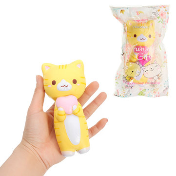 Vlampo Squishy Jumbo Kitten Cat Love Heart 14cm Licensed Slow Rising Original Packaging Collection Gift Decor