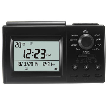 Digital Automatic Islamic Azan Muslim Prayer Alarm Adhan Table Clock Black