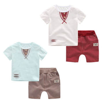 Little Boys Casual Patchwork Stripes Cotton Short Sleeve T-shirts Pants Suit