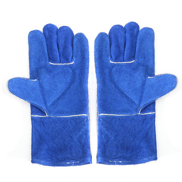 XL Blue Welding Gloves Leather Woodburner Gloves High Temperature Protect Welding Hand