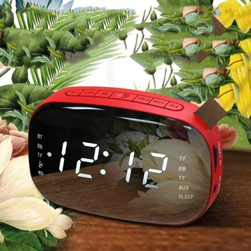 LED Digital Double Alarm Clock with Sleep Timer Snooze Fuction Bluethooth Loudspeaker Box Table Clock