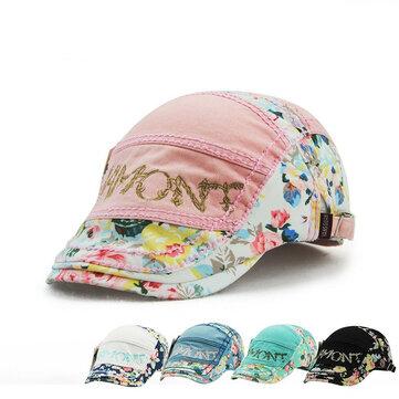 ผ้าฝ้ายลายดอกกุหลาบสีดำลายดอกไม้ Beret หมวกเด็ก Cabbie Golf Cap