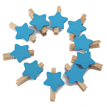 50Pcs Wooden Star Clip Clamp Photo Paper Clothing Clothes Pegs Party Favor Home Decor