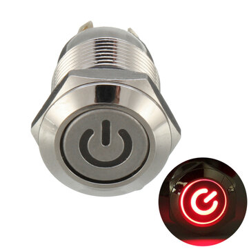 Excellway® 12V 4 Pin Led Metal Push Button Switch Momentary Power Switch Waterproof