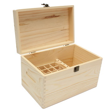 47 Slots Essential Oils Wooden Box Container Solid Pine Pure Natural Wood Storage Case