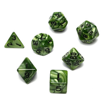 7 Piece Polyhedral Dice Set Multisided Dice With Dice Bag RPG Role Playing Games Dices Green