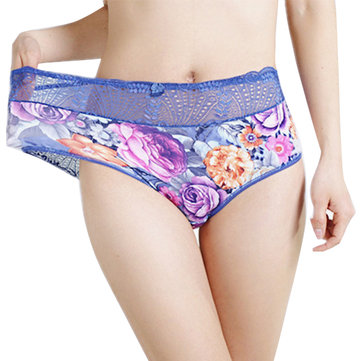 Plus Size Printing Lace Elastic High Waist Panties