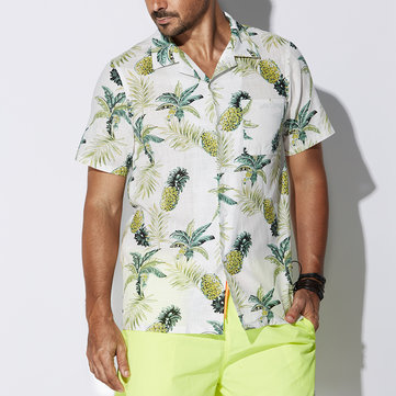 TWO-SIDED Mens Eye-Catching Breathable Loose Pineapple Printing Cotton Beach Shirts