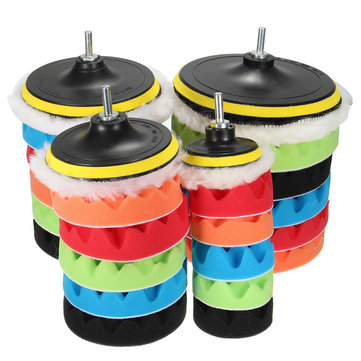 7pcs Sponge Polishing Waxing Buffing Pads Kit For Car Polisher Buffer