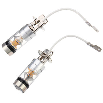Pair 100W H3 LED 2835 20SMD Car Fog Lights Driving DRL Bulbs Lamps Amber Yellow