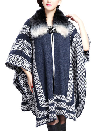 Plus Size Loose Stripe Knit Fur Collar Shawl Coat