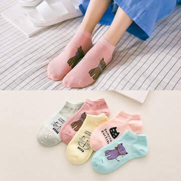 Women Cute Cartoon Cats Pattern Boat Socks Casual Harajuku Style Cotton Breathable Socks