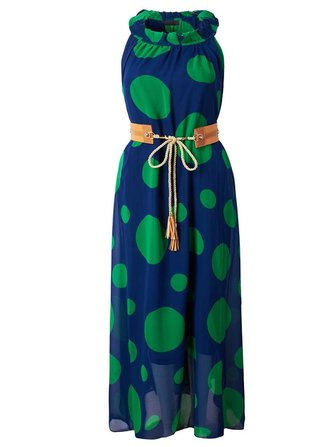 Elegant Women Halter Polka Dots Chiffon Maxi Dress With Belt