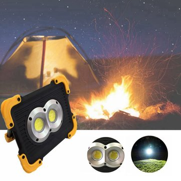 20W Double Round USB Portable Waterproof COB Camping Light Rechargeable 3Modes LED Work Light