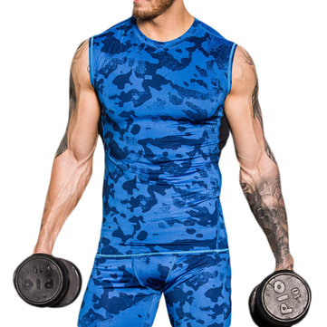 Mens Casual Quick Drying Camouflage Sleeveless Vest Slim Fit Sports Running Tank Tops