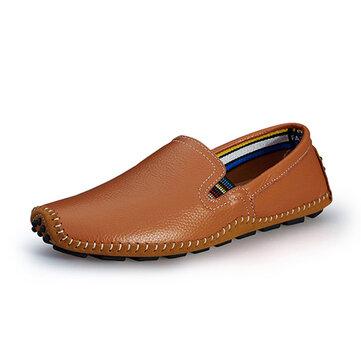 Мы размер 6.5-11.5 мужчины кожа случайные открытый вождения скольжения на квартирах бездельников обувь