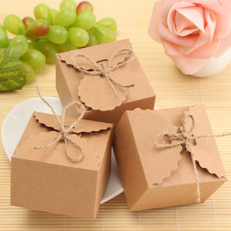 50Pcs Rustic Kraft Paper Candy Box Burlap Jute Chic Wedding Favor Party Birthday Gift Packing Suppli